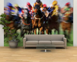 Horse Race in Motion Wall Mural – Large by Peter Walton