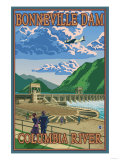 Bonneville Dam, Columbia River, Oregon Art by  Lantern Press