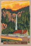 Multnomah Falls Lodge, Oregon Prints by  Lantern Press