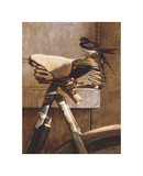 Swallow On Bicycle Premium Giclee Print by Peter Munro