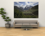 View of a Small Village with Mount Everest in the Background Wall Mural by Tim Laman
