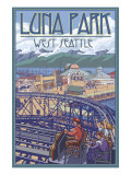 Luna Park Scene, Seattle, Washington Posters