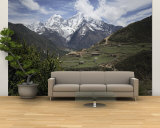 View of a Small Village with Mount Everest in the Background Wall Mural – Large by Tim Laman
