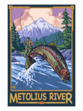 Metolius River Fisherman, Oregon Posters by  Lantern Press
