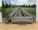 Alaska Railroad Tracks Lined on Either Side by Pink Fireweed Wall Mural – Large by Rich Reid