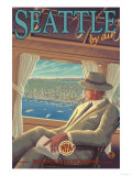 Seattle by Air Art by  Lantern Press