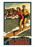 Duke Kahanamoku Surfing Scene, Waikiki, Hawaii Affiches