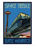 Space Needle and Monorail, Seattle, Washington Prints by  Lantern Press
