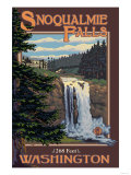 Snoqualmie Falls by Day, Washington Prints by  Lantern Press