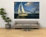 Sailboat Cruising off the Coast of the British Virgin Islands Wall Mural by Skip Brown