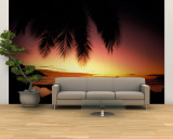 Tropical Sunset on Beauvallon Bay, Seychelles Wall Mural – Large by Nik Wheeler