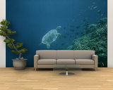 A Large Tropical Turtle Swims Underwater Near a Coral Reef Reproduction murale XXL