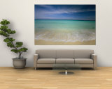 Clear Blue Water and Wispy Clouds Along the Beach at Cancun Wall Mural by Michael Melford