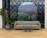 View through Ornate Iron Grille (Moucharabieh), Morocco Wall Mural – Large by John & Lisa Merrill
