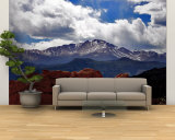 The Sun Breaks Through the Clouds to Highlight the Summit of Pikes Peak Wall Mural – Large