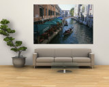 A Gondolier Passes a Restaurant on a Canal in Venice, Italy Wall Mural by Taylor S. Kennedy
