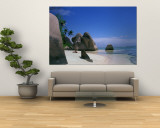 Rocky Coast of Point Source d'Argent, Seychelles Wall Mural by Nik Wheeler