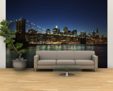 Manhattan Skyline and Brooklyn Bridge at Dusk, New York City, New York, USA Wall Mural – Large by Amanda Hall