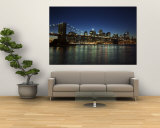 Manhattan Skyline and Brooklyn Bridge at Dusk, New York City, New York, USA Mural por Amanda Hall