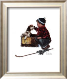Boy Meets His Dog Art by Norman Rockwell