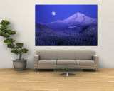 Moonrise over Mt. Hood, Oregon, USA Wall Mural by Janis Miglavs