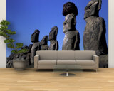 Polynesian Girl with Huge Moai, Ahu Tongariki, Easter Island, Chile Wall Mural – Large by Keren Su