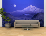 Moonrise over Mt. Hood, Oregon, USA Wall Mural – Large by Janis Miglavs