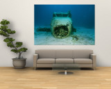 A Wrecked Airplane Lies on the Seafloor Wall Mural by Heather Perry