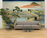 Eight Part Bridge, Province of Mucawa, Japan, circa 1830 Wall Mural – Large by Katsushika Hokusai