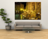 Trevi Fountain at Night, Rome, Italy Wall Mural by Connie Ricca