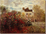 The Artist's Garden at Argenteuil Stretched Canvas Print by Claude Monet