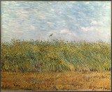 Wheat Field with a Lark Framed Canvas Print by Vincent van Gogh