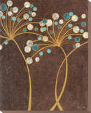 Teal Bubble Flowers Stretched Canvas Print by Alan Buckle
