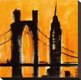 Amber Cityscape Stretched Canvas Print by Paul Brent