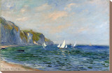 Cliffs and Sailboats at Pourville Stretched Canvas Print by Claude Monet