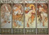 Las estaciones (Les Saisons) Reproducción en lienzo de la lámina por Alphonse Mucha