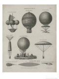 Aeronautics, Early Balloon Designs, c.1818 Art by Joseph Clement