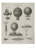 Aeronautics, Early Balloon Designs, c.1818 Art by Joseph Clement