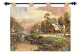 Sunset at Riverbend Farm Wall Tapestry by Thomas Kinkade