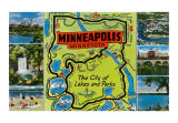 Map and Scenes of Minneapolis, Minnesota Art Print