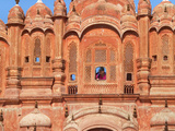 Tourist by Window of Hawa Mahal, Palace of Winds, Jaipur, Rajasthan, India Photographic Print by Keren Su