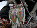 Pouch Holds Food for Eagles, Golden Eagle Festival, Mongolia Photographic Print by Amos Nachoum
