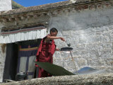 Using Solar Panel to Cook, Sera Temple, Lhasa, Tibet, China Photographic Print by Keren Su