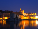 Pope's Palace on the Rhone and Pont Saint St. Benezet, Avignon, Vaucluse, Provence, France Photographic Print by Per Karlsson