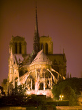 Notre Dame Cathedral Lit at Night, Paris, France Photographic Print by Jim Zuckerman