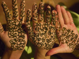 Woman's Palm Decorated in Henna, Jaipur, Rajasthan, India Photographic Print by Keren Su