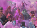 People Throwing Color Powder and Water on Street, Holy Festival, Barsana, India Photographic Print by Keren Su