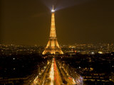 Digital Composite of Eiffel Tower and Champs-Elysees at Nighttime, Paris, France Lámina fotográfica por Jim Zuckerman