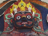 Close-up of Statue of Kalbairab at a Hindu Shrine, Katmandu, Nepal Photographic Print by Steve Satushek