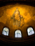 Stained Glass Windows and Artwork on Walls and Ceilings of Hagia Sophia, Istanbul, Turkey Photographic Print by Darrell Gulin